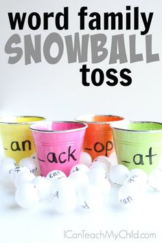 Word Family Snowball Toss - I Can Teach My Child! - Multisensory ideas- Word Family Snowball Toss – I Can Teach My Child! Word Family Activity that includes kinesthetic learning for kids who love to move! Kinesthetic Learning, Fun Learning, Learning Activities, Indoor Activities, Teaching Ideas, Summer Activities, Teaching Career, Preschool Lessons, Toddler Learning