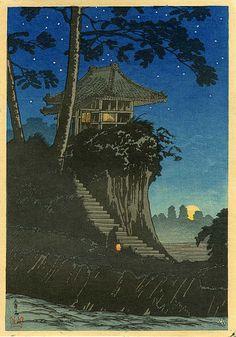 "Japanese Art Print ""Moonrise at Tokumochi"" by Takahashi Shotei, woodblock print reproduction, asian Japanese Artwork, Japanese Painting, Japanese Prints, Chinese Painting, Japon Illustration, Japanese Illustration, Botanical Illustration, Japanese Woodcut, Art Asiatique"