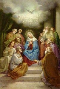 O derramamento do Espírito em Pentecostes e a Virgem Maria.                                                                                                                                                                                 Mais