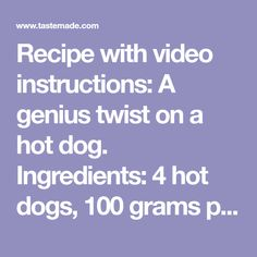 Recipe with video instructions: A genius twist on a hot dog. Hot Dog Recipes, Meat Recipes, Mix Video, Halloween Desserts, Cast Iron Cooking, Holiday Treats, Hot Dogs, Pancake, Favorite Recipes