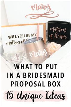 """Bridesmaid boxes are the perfect way to """"propose"""" to your bridesmaids, but what do you put in a bridesmaid proposal box? Today I'm sharing with you some of my favorite ideas for box fillers and unique ideas for bridesmaid proposal gifts! Here is a list of my favorite things to include. Asking Bridesmaids, Bridesmaid Gift Boxes, Bridesmaid Proposal Gifts, Brides Maid Proposal, Groomsmen Proposal, Bridal Boxes, Ways To Propose, Gifts For Wedding Party, Wedding Ideas"""