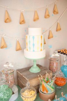 Aqua and Yellow Ice Cream Party - Kara's Party Ideas - The Place for All Things Party
