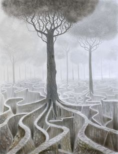 My Foggy House by Ado Ceric House Illustration, Tree Leaves, Visionary Art, Land Art, Tree Of Life, Painting & Drawing, Landscape, Drawings, Artist