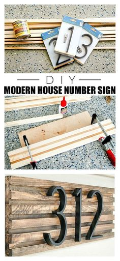 How to make a modern house number sign from square dowels. # diy projects How to Make a Modern House Number Sign Diy Signs, Diy House Signs, Diy Home Improvement, My New Room, Porch Decorating, Home Projects, Garden Projects, Planer, Diy Furniture