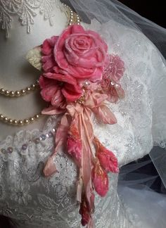 pink velvet rose shabby brooch, corsage, hair accessory, velvet flowers, large floral pin, romantic, posy pin, handmade, floral corsage, by susanjanescreations on Etsy https://www.etsy.com/au/listing/586693647/pink-velvet-rose-shabby-brooch-corsage