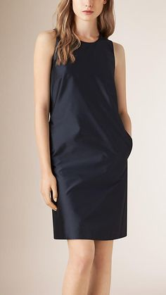 Burberry Navy Silk Blend Shift Dress - A simple shift dress in a lustrous silk blend.  The modern silhouette is enhanced with pockets and an exposed zip at the back.  Discover the women's dress collection at Burberry.com