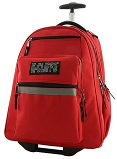 Enjoy exclusive for K-Cliffs Heavy Duty Rolling Backpack School Backpacks  Wheels Deluxe Trolley Book Bag Wheeled Daypack Workbag Multiple Pockets  Bookbag ... 164ad7e299a41