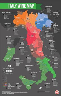 Italian Wine Regions Map: Want to visit an Italian winery someday, this is a map of wines grown in Italy.