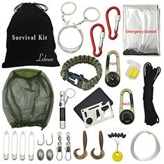 Emergency Kit Contains: Whistle flashlight * 1 (Color Random, Red or Black) Multifunction calipers * 1 Mosquito Head Net * 1 Hand see-saw * 1 Flint bracelet * 1 Risers * 1 (10M) Fast hang buckle * 2 Outdoor emergency blanket * 1 Earplug * 1 Hooks * 2 Fishing line * 1 (33M) Bait * 2 Swivels * 2 Lead sinkers * 2 Floats * 6 Compass Thermometer * 1 Gift: 1 x Flannel Bag [dimensions:7.9*9.8 in]