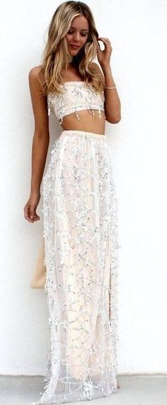 #summer #trending #fashion |Soft Pretty Nudes And Sheer Embellished Tulle Two Pieces Gown Set