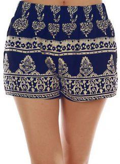Navy+Boho+Shorts,++Bottoms,+boho+damask+printed+chic+navy,+Chic