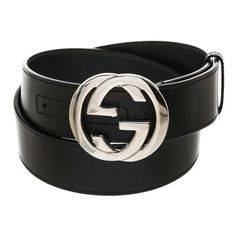 Pre-Owned Gucci Black Leather Silver Gg Belt ($260) ❤ liked on Polyvore featuring accessories, belts, black, 100 leather belt, real leather belts, gucci, genuine leather belts and gucci belt