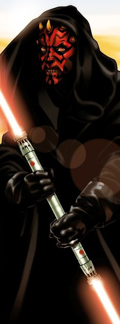 Darth Maul. Male, age unknown. He is a Sith. He is intimidating, ruthless, agile, headstrong, quick witted, clever, sly, ambitious and strong. He uses a double bladed red lightsaber, and uses it swiftly and quickly. Very mysterious, and has a low, slightly seductive voice. (Me)