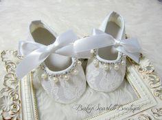 Encaje blanco bebé niña zapatos zapatos de suela suaves