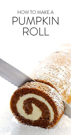 Learn how to make this classic pumpkin roll recipe with a step-by-step photo and video tutorial! It's easy to make ahead of time, it's filled with a heavenly cream cheese filling, and it's always a crowd favorite!! | http://gimmesomeoven.com