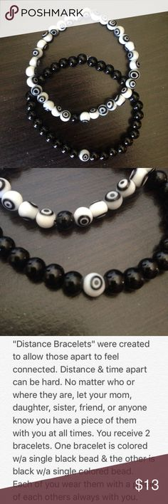 """Distance Bracelets Made with black & white evil eye & black colored 6mm glass beads. Measures 3.5"""" when folded in half; comfortable fit, flexible but not loose.   Wear one & share one. Keep a piece of each other with you, no matter the miles apart.   Balance Bracelets  Distance Bracelets Friendship Bracelets  Yin Yang Bracelets Handmade Jewelry Bracelets"""