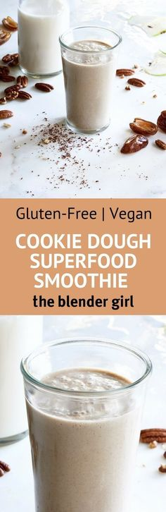 This delicious raw vegan superfood smoothie from Julie Morris tastes like cookie dough! Healthy Vegan Desserts, Vegan Dessert Recipes, Delicious Vegan Recipes, Dairy Free Recipes, Gluten Free, Vegan Snacks, Paleo, Healthy Recipes, Vegan Treats