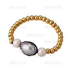 pulsera de bola dorado acero con perla blanca brillo para mujer -SSBTG504586