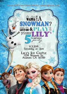 Frozen Birthday Invitation by SweetDreamsOfArt on Etsy, $21.00