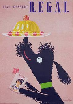 An adorable vintage Regal flan dessert ad with poodle