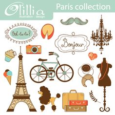 Paris collection - beautiful clipart for web graphics, invitaitions, paper goods and more.
