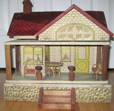 Antique Unmarked Furnished Cass or Converse Litho Dollhouse.  .....Rick Maccione-Dollhouse Builder www.dollhousemansions.com
