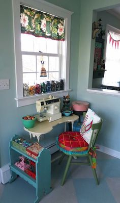 i like this in principle, but the workspace (sewing machine table) would be a bit too small to work comfortably, and the window light might mess with your eyes if youre working for long periods at a time... but I like the wall-mounted table, and the compact scale of this set-up