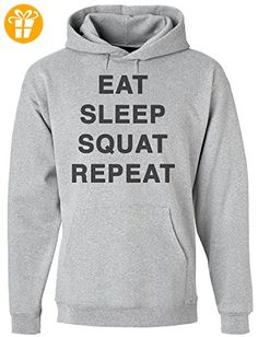 Eat Sleep Squat Repeat Men's Hoodie Pullover Medium (*Partner-Link)