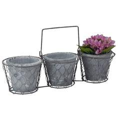Trio Vasos Cerâmica c/ Suporte Aramado Jardim Secreto