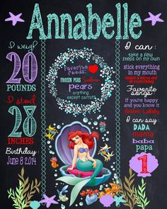Custom little  mermaid birthday board by MichelleRayeDesigns