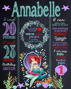 Custom little  mermaid birthday board by MichelleRayeDesigns
