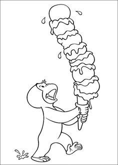 kleurplaat Curious George heeft een ijsje Kids-n-Fun