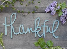Thankful Typography Word Cutout MDF word sign Typography