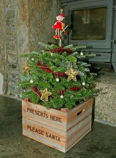 Personalised Square Wooden Christmas Tree Stand Crate. Various colours available or customise your own plain crate
