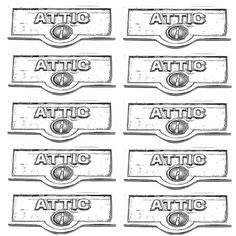 10 Switchplate Chrome Over Brass ATTIC Switch Tag Chrome 1 11/16 in. W