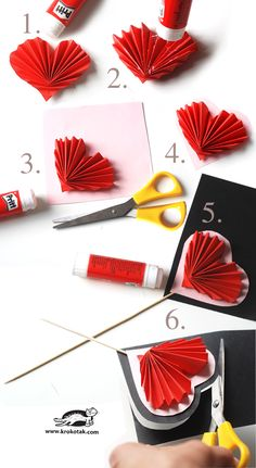 How to make a folded paper heart - could use for decorations for party or on a cake/cupcake, card idea, could make a gift bouquet of flowers....the possibilities are endless!!