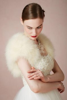 bhldn fur cowl neck lace and tulle gown. So gorgeous for a winter wedding! I love the antique white color