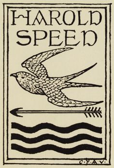 Bookplate designed by Charles Francis Annesley Voysey for Harold Speed, ca. 1916