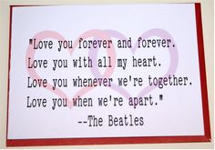 The Beatles I Will Song Lyrics card by whattherock on Etsy