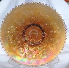 Westmoreland Carnival Glass Good Luck Bowl with Horse shoe!!!