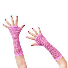 Netzhandschuhe lang fingerlos Party Karneval Fasching - neon pink in Feierlichkeiten / Anlässe   • Karneval Fasching Party • Handschuhe