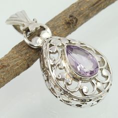 If you are looking for Genuine Jewellery Gift which is unusual and not huge, this fits the bill! Jewelry Gifts, Jewelry Accessories, Jewelry Design, Jewellery, Amethyst Pendant, Amethyst Gemstone, Pendant Jewelry, Silver Jewelry, Birthstone Jewelry