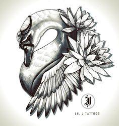 """Swan tattoo design by Lil J @ Base 9 Tattoos Jess O'Connor (@lilj.tattoos) on Instagram: """"liljtattoo@gmail.com #tattoodesign #customdesign #tattooartist #melbournetattooer #tatts #swan…"""""""