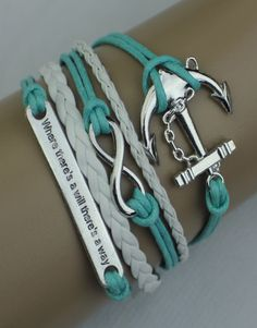 "Our popular leather wrap bracelets - this one features an anchor, the infinity symbol, and the saying ""Where there's a will there's a way"". Teal and white colors with silver.  Bracelet is 6 inches long with a 2 inch extender.  If this ModWrap notes ""Available on backorder"", you will receive it in 1-2 weeks."
