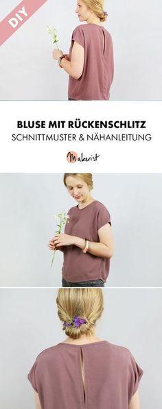 Elegante Bluse mit Schlitz im Rücken - Nähanleitung und Schnittmuster via Makerist.de