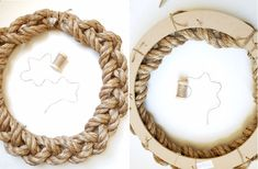 Nautical Wreath - Lil' Luna - DIY Rope Nautical Wreath – an awesome DIY project for the summer! A super cute combo of rope and - Rope Crafts, Wreath Crafts, Diy Wreath, Craft Day, Craft Gifts, Nautical Wreath, Rope Art, Diy Braids, Wreath Tutorial