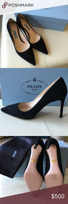 """Prada Suede Point-Toe Black Pumps 100% Authentic *Brand New* Prada Suede Pumps. Super classy and a staple for any shoe collection! Comes with original box and dust bag. 3.25"""" suede-covered stiletto heels, leather sole with metal logo, made in Italy. Size 6 Prada Shoes Heels"""