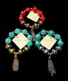 GOLD SILVER BURNISH CORAL TURQUOISE BEADED STRETCH CHAIN FRINGE BRACELET #marysol #Beaded