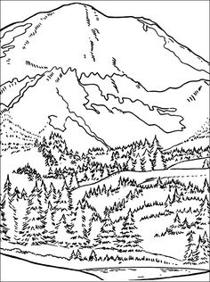Printable mountain coloring page Free PDF download at http