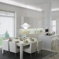 White kitchen with plenty of sunlight! Look at the faucet: It's La Cucina Alessi by Oras. Nordic Interior, Faucet, Sweet Home, Dining Room, Lights, Kitchen, Table, Furniture, Haku